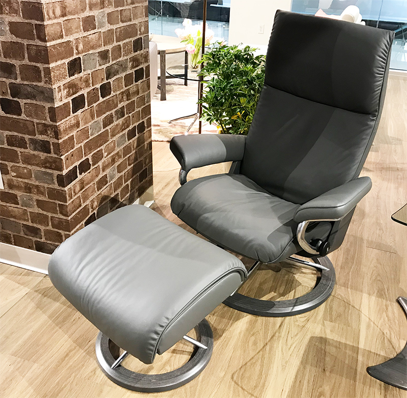 Stressless Aura Signature Batick Grey Leather Recliner Chair and Ottoman by Ekornes