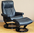Stressless Crown Cori Fog Leather Recliner Chair and Ottoman