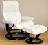 Stressless Crown Paloma Vanilla Leather Recliner Chair and Ottoman