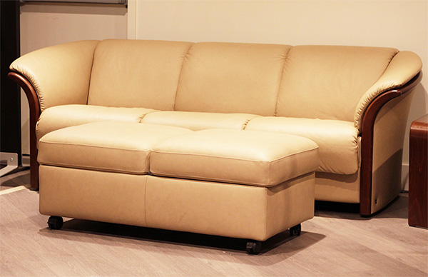 Stressless Manhattan Leather Sofa and Double Leather Ottoman