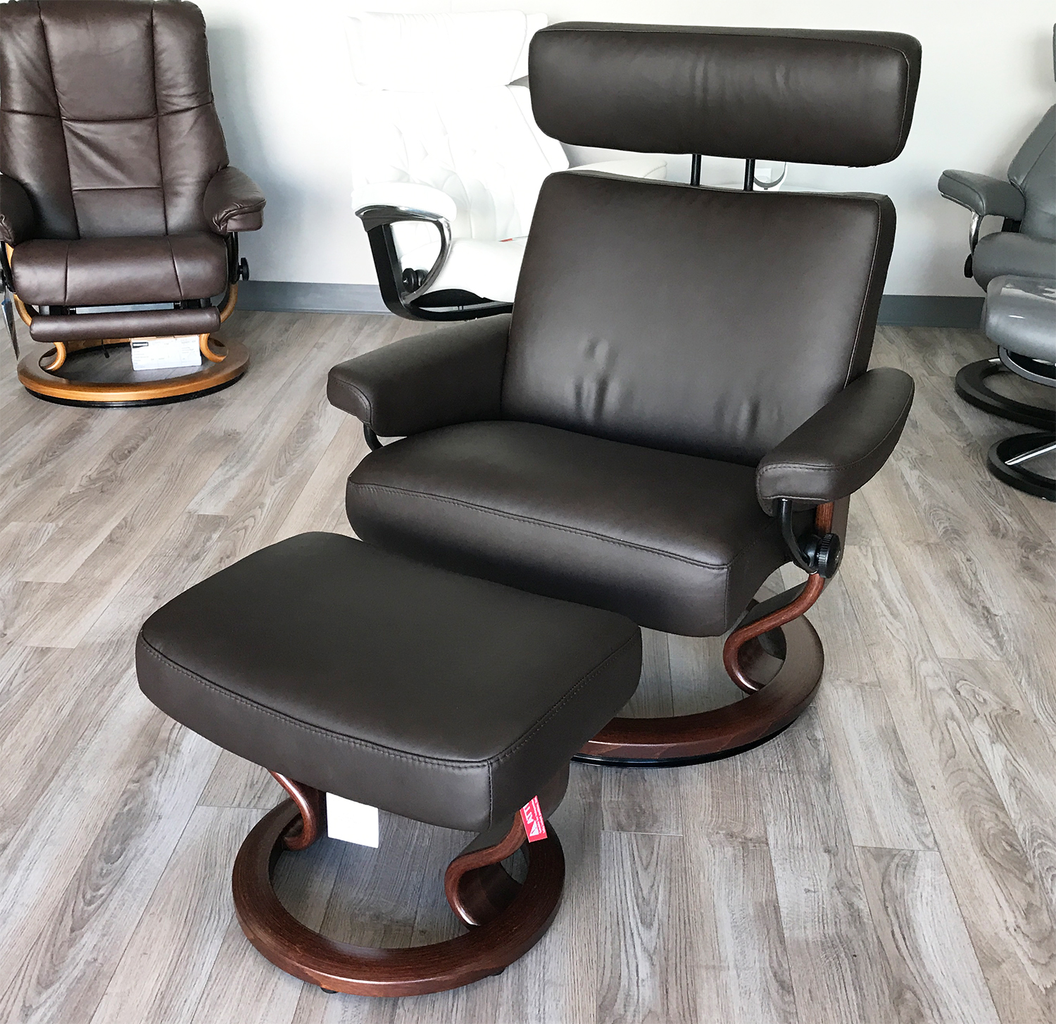 Stressless Taurus Paloma Mocca Leather Recliner Chair and Ottoman by Ekornes