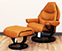 Stressless Voyager Medium Recliner and Ottoman in Paloma Taupe Leather
