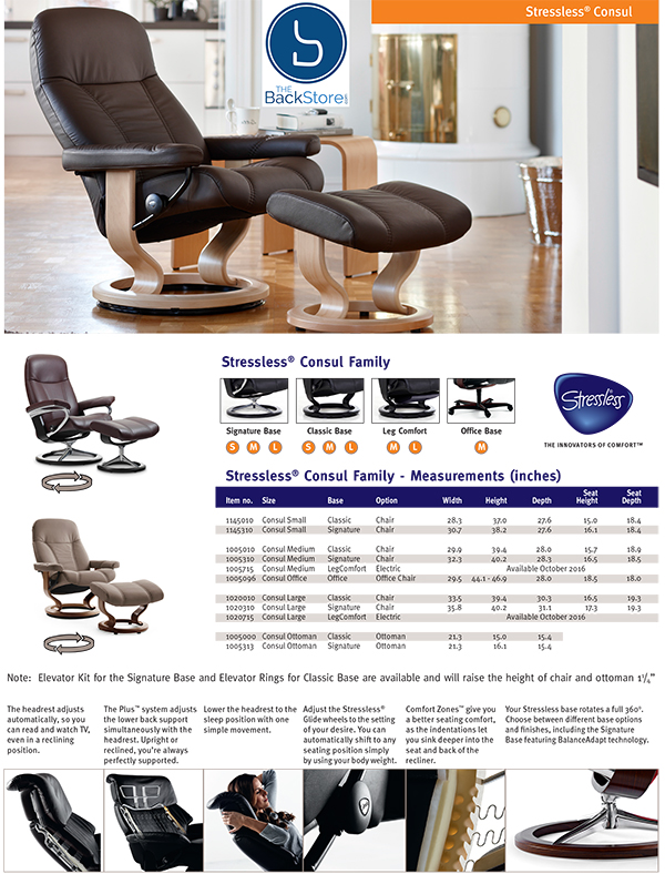 Stressless Consul Leather Recliner Chair and Ottoman by Ekornes