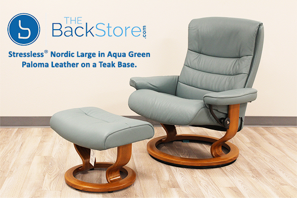 Stressless Nordic Recliner Chair and Ottoman in Paloma Aqua Green