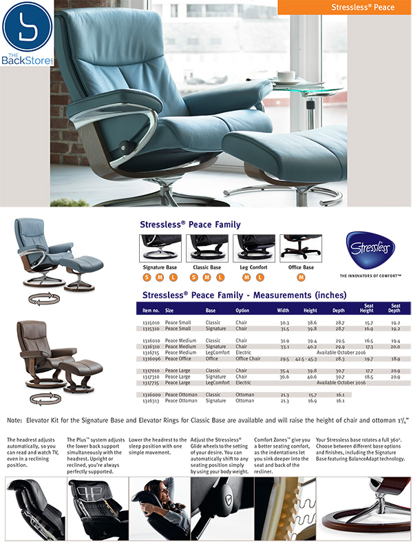 Stressless  Peace Leather Recliner Chair and Ottoman by Ekornes