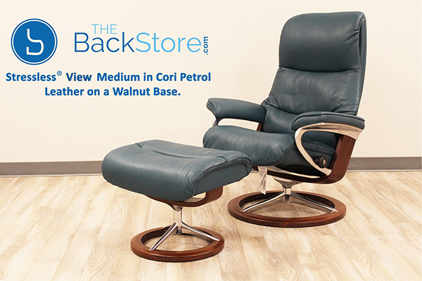 Stressless View Signature Recliner Chair and Ottoman in Cori Petrol