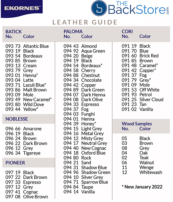 Stressless Leather Color Guide Chart by Ekornes