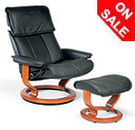 Stressless Admiral Recliner Chair and Ottoman