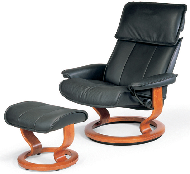 Stressless Admiral Classic Base Paloma Leather Recliner Chair and Ottoman by Ekornes