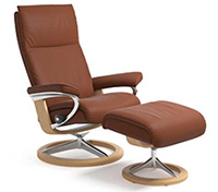 Stressless Aura Recliner Chair and Ottoman - Signature Wood Base