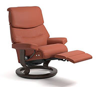 Stressless Capri LegComfort Power Extending Footrest with Classic Wood Base