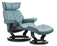 Stressless Skyline Classic Hourglass Wood Base Recliner Chair and Ottoman