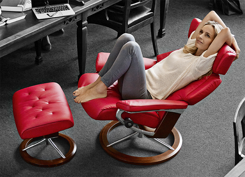 Stressless Skyline Medium Leather Recliner Chair and Ottoman by Ekornes