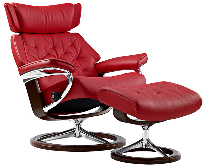 Stressless Skyline Medium Tomato Leather Recliner Chair and Ottoman by Ekornes