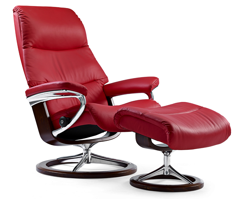 Stressless View Medium Tomato Leather Recliner Chair and Ottoman by Ekornes