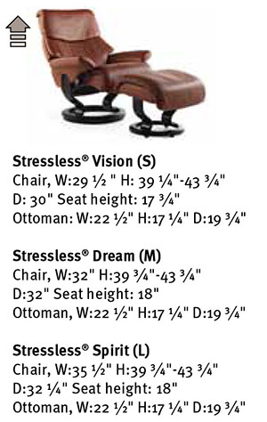 Stressless Dream Medium Cori Tan Leather Recliner Chair and Ottoman Measurements by Ekornes