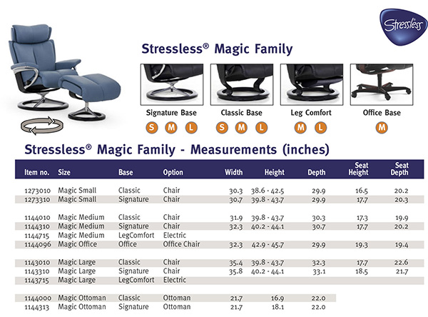 Stressless Magic Family Recliner Chair Dimensions from Ekornes