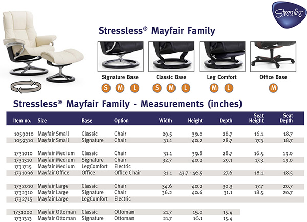 Stressless Mayfair Recliner Chair and Ottoman Size Dimensions