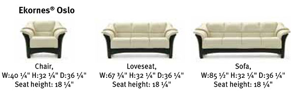 Stressless Oslo Leather Sofa, Loveseat, Sectional and Recliner Chair