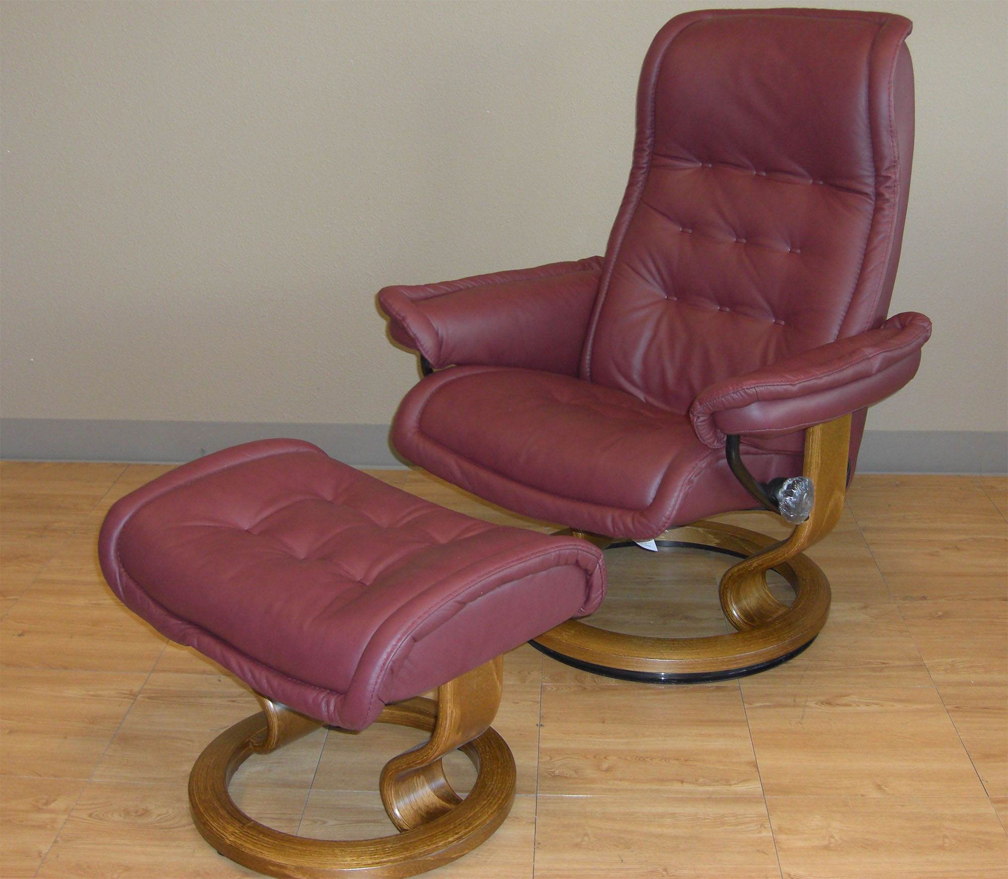 Stressless Paloma New Winered 09427 Leather Color Recliner Chair and Ottoman from Ekornes