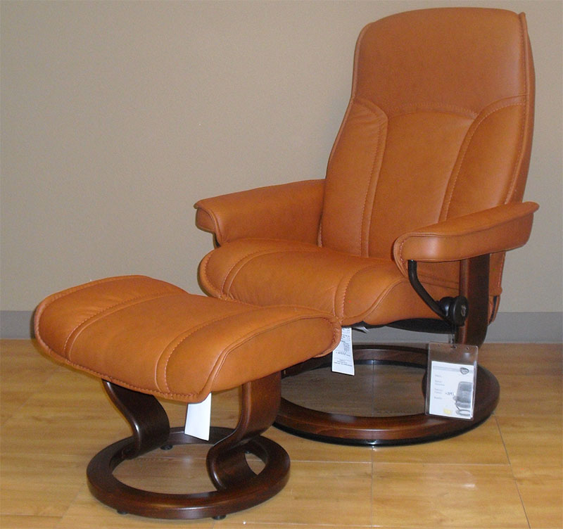 Stressless Senator Paloma Brandy Leather Recliner and Ottoman