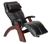 Black Premium Leather with Chestnut Wood Base Series 2 Classic Human Touch PC-420 PC-600 PC-610 Perfect Chair Recliner by Human Touch