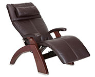 Espresso Premium Leather with Chestnut Wood Base Series 2 Classic Human Touch PC-420 PC-600 PC-610 Perfect Chair Recliner by Human Touch