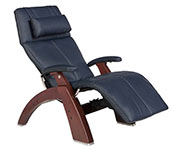 Navy Blue Leather with Chestnut Wood Base Series 2 Classic Human Touch PC-420 PC-600 PC-610 Perfect Chair Recliner by Human Touch