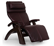 Burgundy Premium Leather with Dark Walnut Wood Base Series 2 Classic Human Touch PC-420 PC-600 PC-610 Perfect Chair Recliner by Human Touch