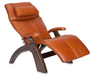 Cognac Premium Leather with Dark Walnut Wood Base Series 2 Classic Human Touch PC-420 PC-600 PC-610 Perfect Chair Recliner by Human Touch