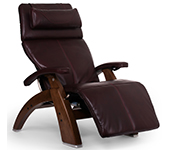 Burgundy Premium Leather with Walnut Wood Base Series 2 Classic Human Touch PC-420 PC-600 PC-610 Perfect Chair Recliner by Human Touch