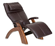 Espresso Premium Leather with Walnut Wood Base Series 2 Classic Human Touch PC-420 PC-600 PC-610 Perfect Chair Recliner by Human Touch