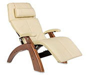 Ivory Leather with Walnut Wood Base Series 2 Classic Human Touch PC-420 PC-600 PC-610 Perfect Chair Recliner by Human Touch