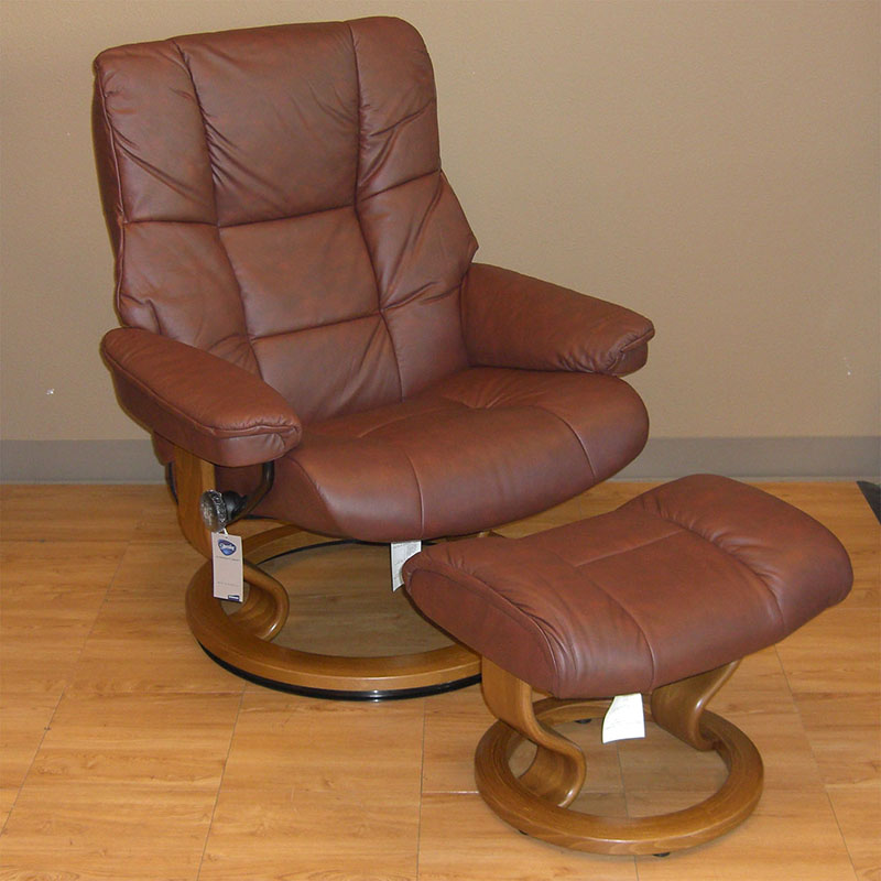Stressless Kensington Paloma Cognac Leather  Recliner and Ottoman