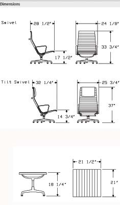 Eames Lounge Aluminum Group Chair Dimensions