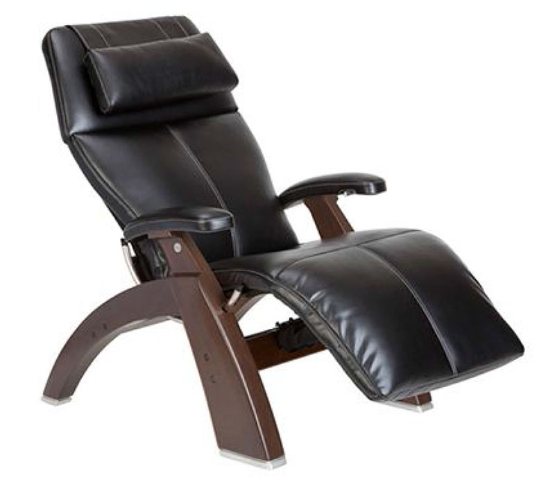 Black Top Grain Leather Dark Walnut Wood Base Series 2 Classic Perfect Chair Zero Gravity Power Recliner by Human Touch