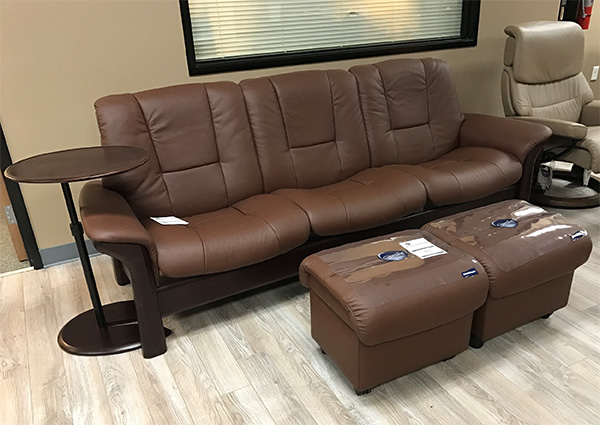 Buckingham Low Back Sofa in Paloma Brown Leather with Medium Soft Ottomans