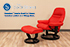 Stressless Small Sunrise Leather Recliner Chair and Ottoman - Paloma Tomato Leather