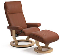 Stressless Aura Recliner Chair and Ottoman - Classic Wood Base