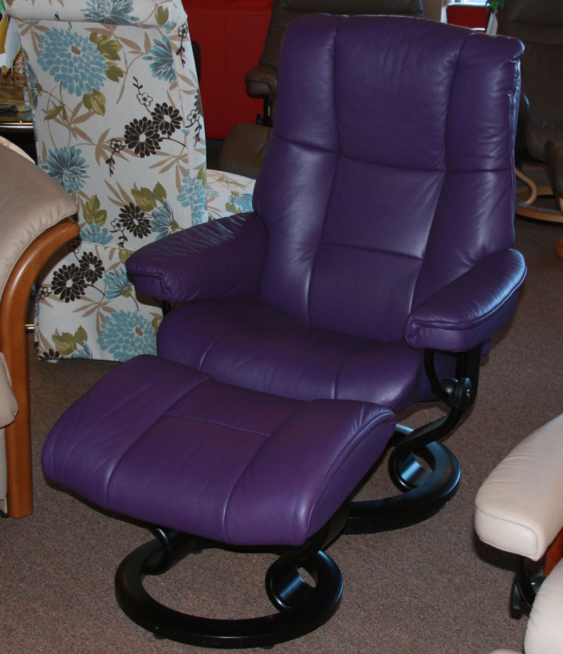 Stressless Paloma Lilac 09468 Leather Color Recliner Chair and Ottoman from Ekornes