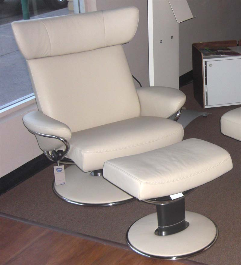 Stressless Paloma Kitt 09432 Leather Color Recliner Chair and Ottoman from Ekornes