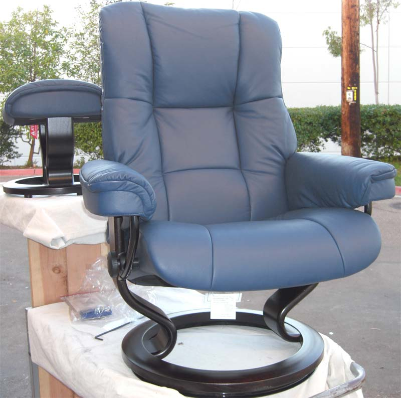 Stressless Paloma Oxford Blue 09418 Leather Color Recliner Chair and Ottoman from Ekornes