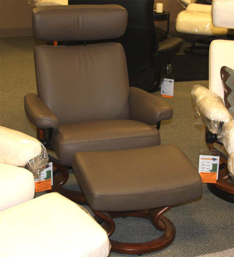 Stressless Paloma Khaki 09404 Leather Color Recliner Chair and Ottoman from Ekornes