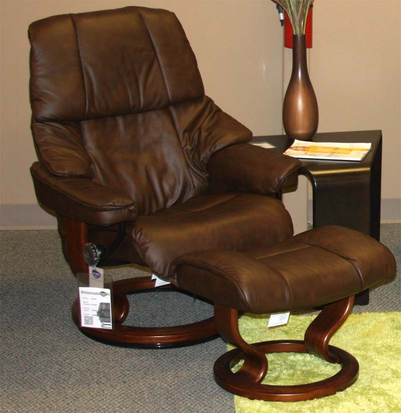 Stressless Paloma Chocolate 09434 Leather Color Recliner Chair and Ottoman from Ekornes