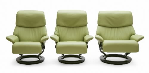 Stressless Paloma Green 09490 Leather Color Recliner Chair and Ottoman from Ekornes