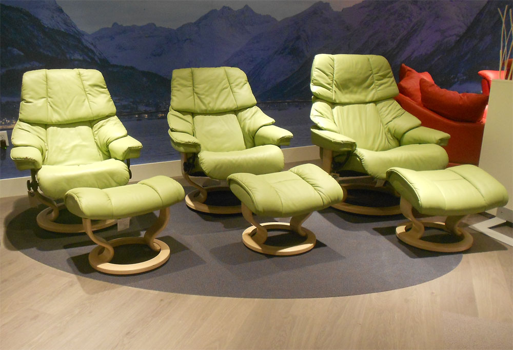 Stressless Vegas Paloma Green 09490 Leather Color Recliner Chair and Ottoman from Ekornes