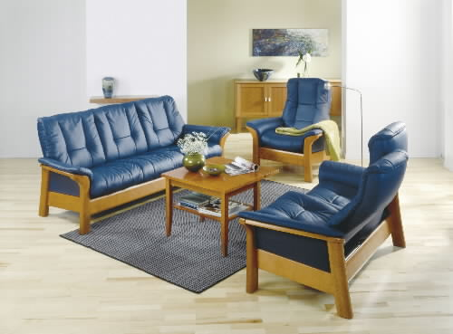 Stressless Paloma Oxford Blue 09418 Leather Color Sofa Set from Ekornes