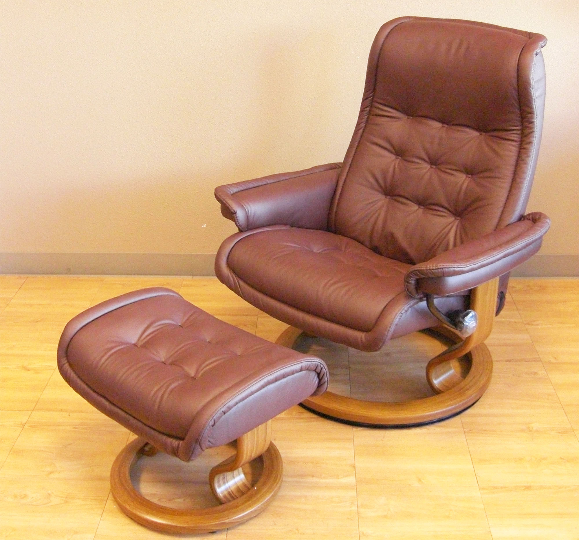 Stressless Paloma Coffee 094 33 Leather Color Recliner Chair and Ottoman from Ekornes